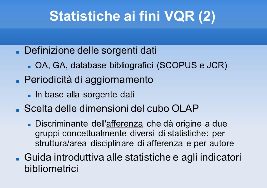 Statistiche ai fini VQR (2) Definizione delle sorgenti dati OA, GA, database bibliografici (SCOPUS e JCR) Periodicità di aggiornamento In base alla so