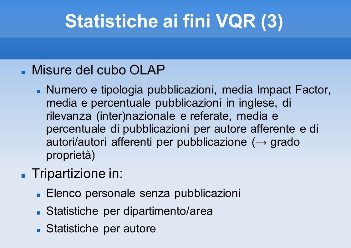 Statistiche ai fini VQR (3) Misure del cubo OLAP Numero e tipologia pubblicazioni, media Impact Factor, media e percentuale pubblicazioni in inglese,