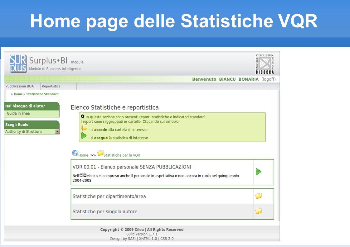 Home page delle Statistiche VQR