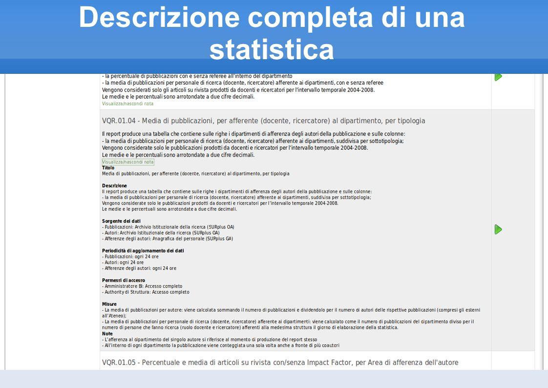 Descrizione completa di una statistica