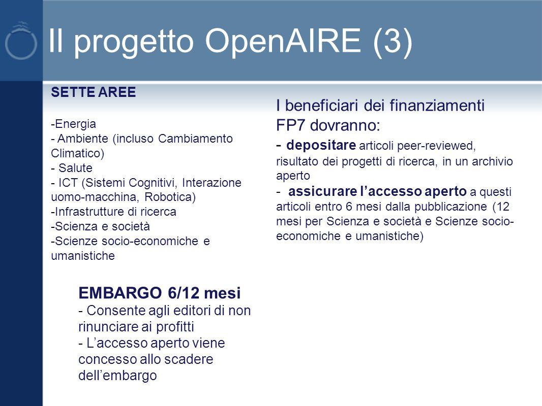 OpenAIRE – alcuni dati OpenAIRE = Open Access Infrastructure for Research in Europe Programma: FP7 – Research Infrastructures Data di inizio : 1 Dicembre 2009 Durata: 36 mesi Budget: 4.1 Milioni 38 partners che rappresentano tutti gli stati membri EU