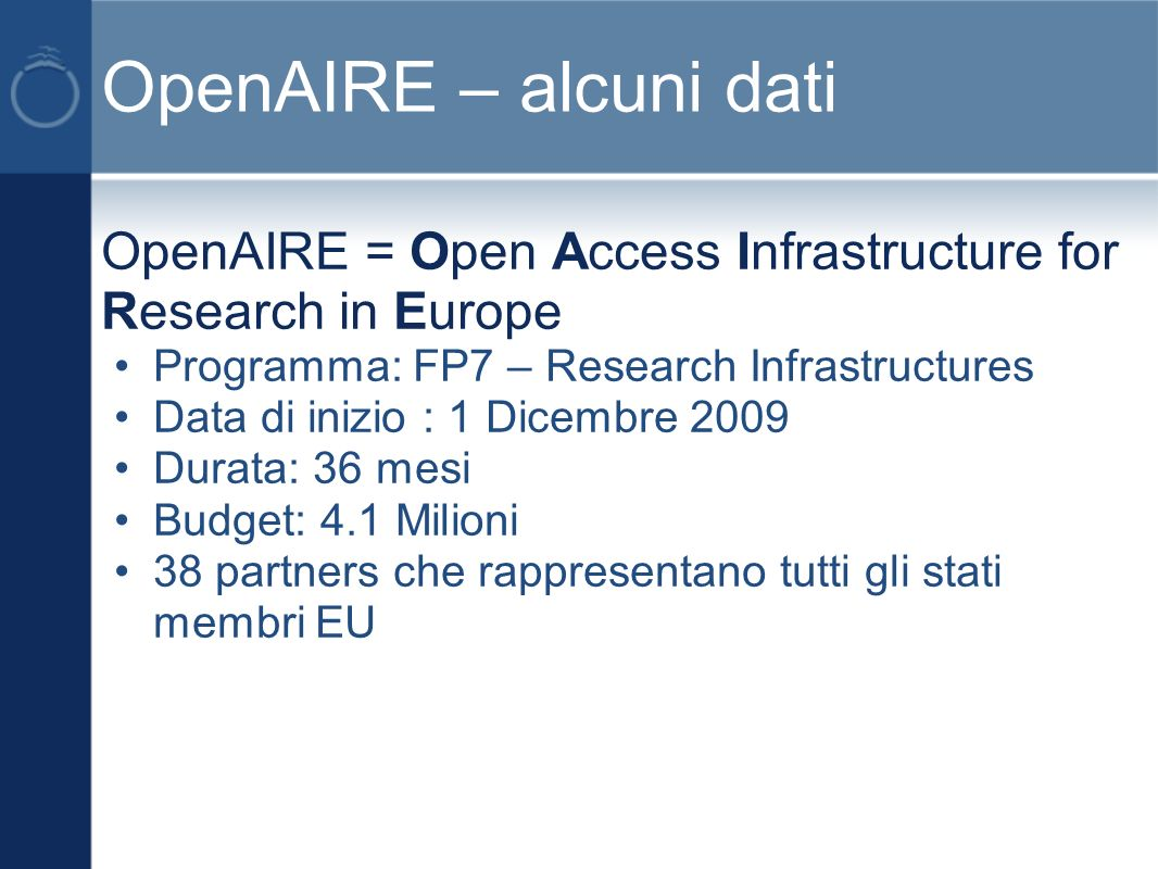 euroCRIS in Italia Workshop sullintegrazione delle anagrafi della ricerca con gli archivi aperti tenutosi il 23-24 maggio 2011 a Roma, meeting dei membri euroCRIS a Bologna il 26- 27 maggio 2011 a Bologna Le presentazioni sono in linea: http://www.irpps.cnr.it/en/events/2nd-workshop-on-cris- cerif-and-institutional-repositories-integrating- research-information-crisoarhttp://www.irpps.cnr.it/en/events/2nd-workshop-on-cris- cerif-and-institutional-repositories-integrating- research-information-crisoar e http://www.eurocris.org/Uploads/Web%20pages/mem bers_meetings/201105%20-%20Bologna,%20Italy/ http://www.eurocris.org/Uploads/Web%20pages/mem bers_meetings/201105%20-%20Bologna,%20Italy/
