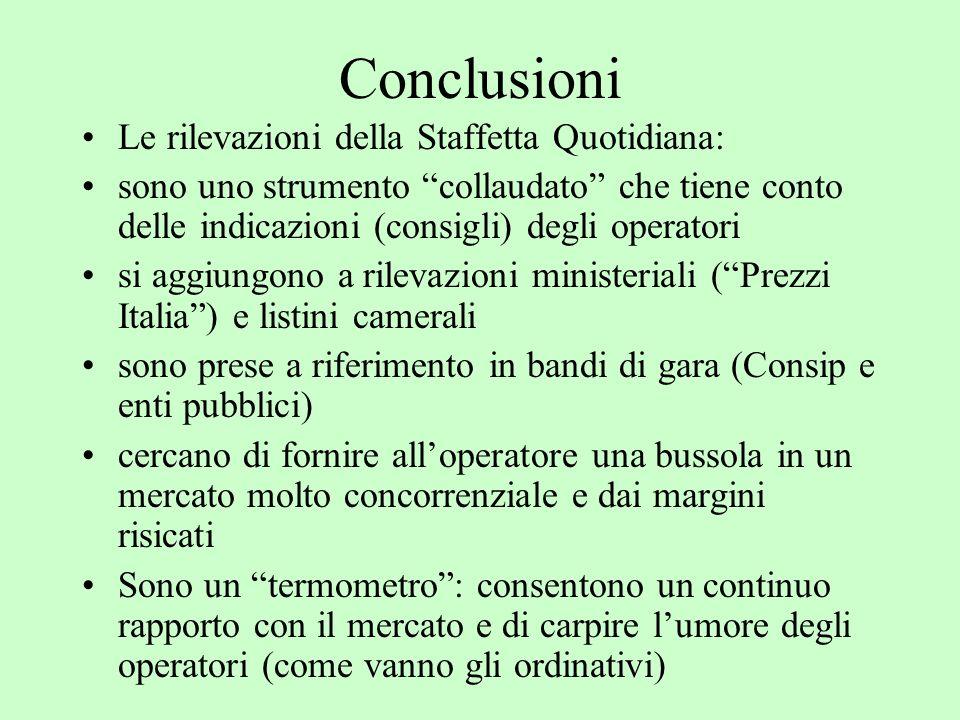 Conclusioni Le rilevazioni della Staffetta Quotidiana: sono uno strumento collaudato che tiene conto delle indicazioni (consigli) degli operatori si a