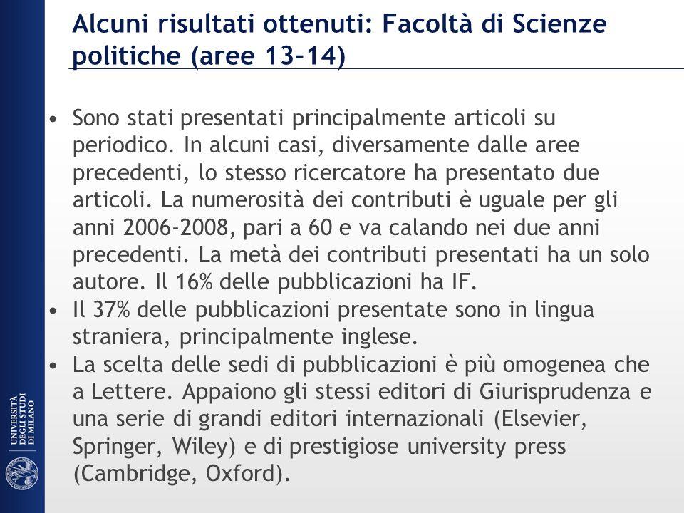 Alcuni risultati ottenuti: Facoltà di Scienze politiche (aree 13-14) Sono stati presentati principalmente articoli su periodico. In alcuni casi, diver