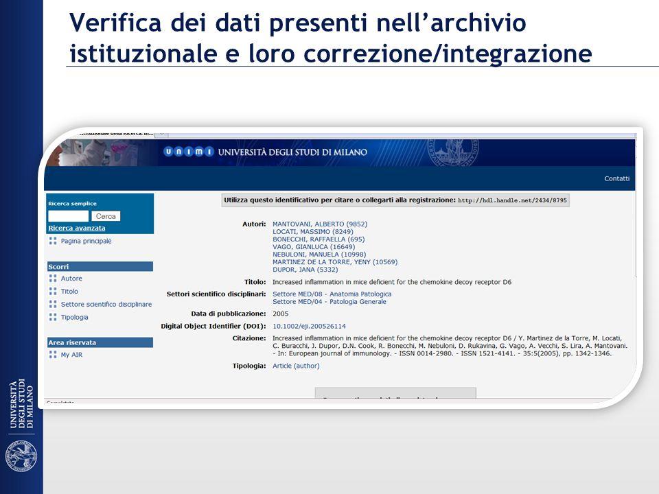 Verifica dei dati presenti nellarchivio istituzionale e loro correzione/integrazione