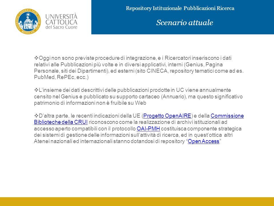 Repository Istituzionale Pubblicazioni Ricerca IMMAGINE Scenario attuale Oggi non sono previste procedure di integrazione, e i Ricercatori inseriscono