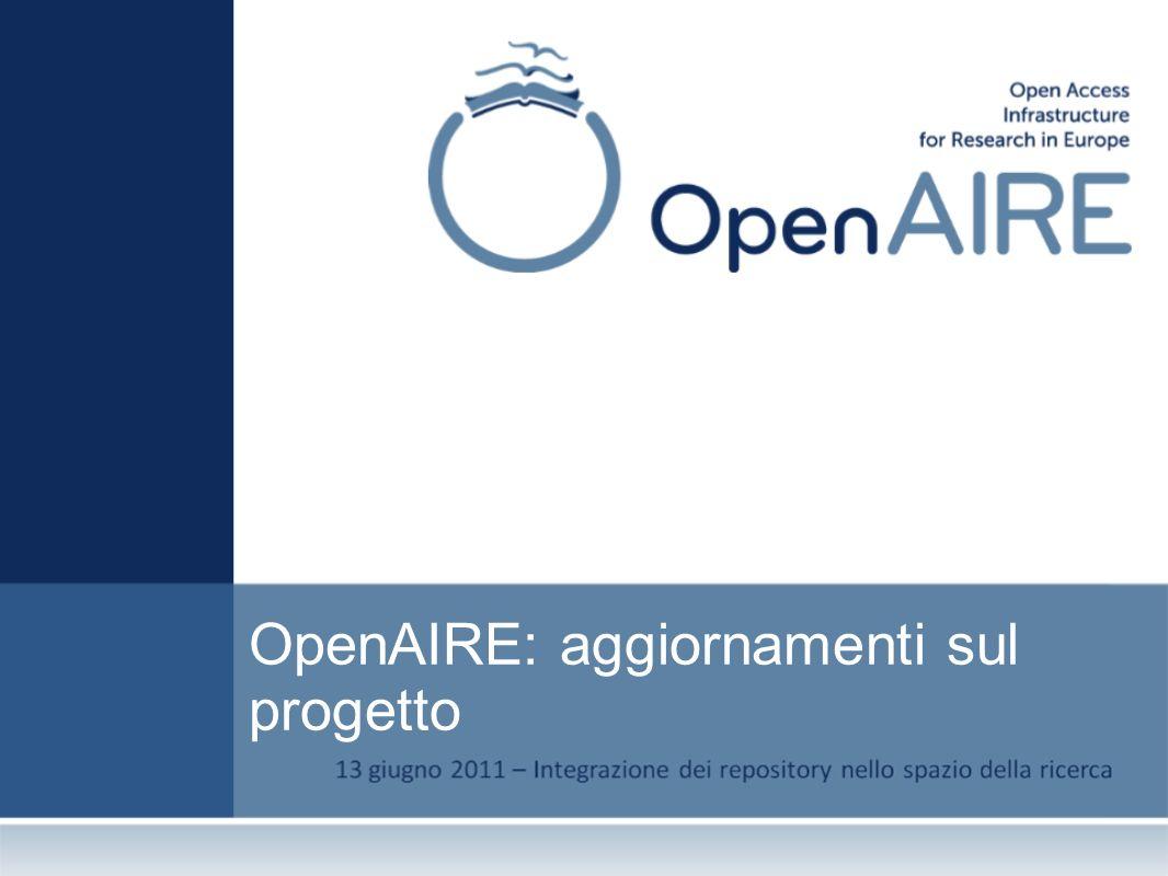OpenAIRE – alcuni dati OpenAIRE = Open Access Infrastructure for Research in Europe Programma: FP7 – Research Infrastructures Data di inizio : 1 Dicembre 2009 Durata: 36 mesi Budget: 4.1 Milioni 38 partners che rappresentano tutti gli stati europei