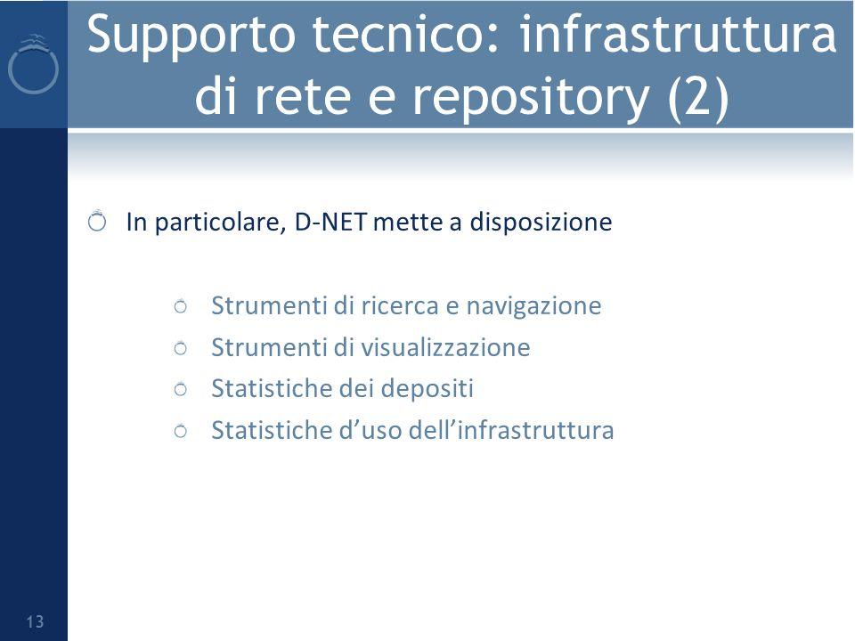 Supporto tecnico: infrastruttura di rete e repository (2) In particolare, D-NET mette a disposizione Strumenti di ricerca e navigazione Strumenti di visualizzazione Statistiche dei depositi Statistiche duso dellinfrastruttura 13