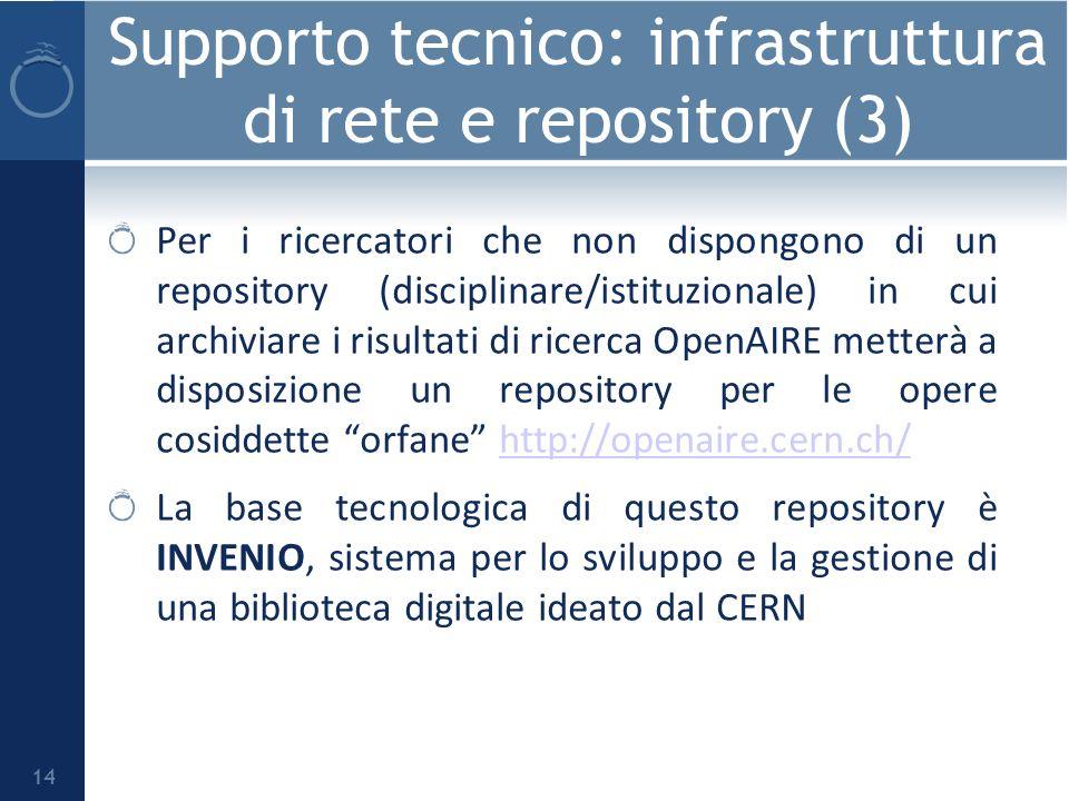 Supporto tecnico: infrastruttura di rete e repository (3) Per i ricercatori che non dispongono di un repository (disciplinare/istituzionale) in cui archiviare i risultati di ricerca OpenAIRE metterà a disposizione un repository per le opere cosiddette orfane http://openaire.cern.ch/http://openaire.cern.ch/ La base tecnologica di questo repository è INVENIO, sistema per lo sviluppo e la gestione di una biblioteca digitale ideato dal CERN 14
