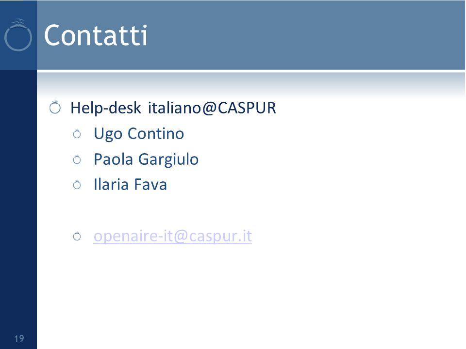 Contatti Help-desk italiano@CASPUR Ugo Contino Paola Gargiulo Ilaria Fava openaire-it@caspur.it 19