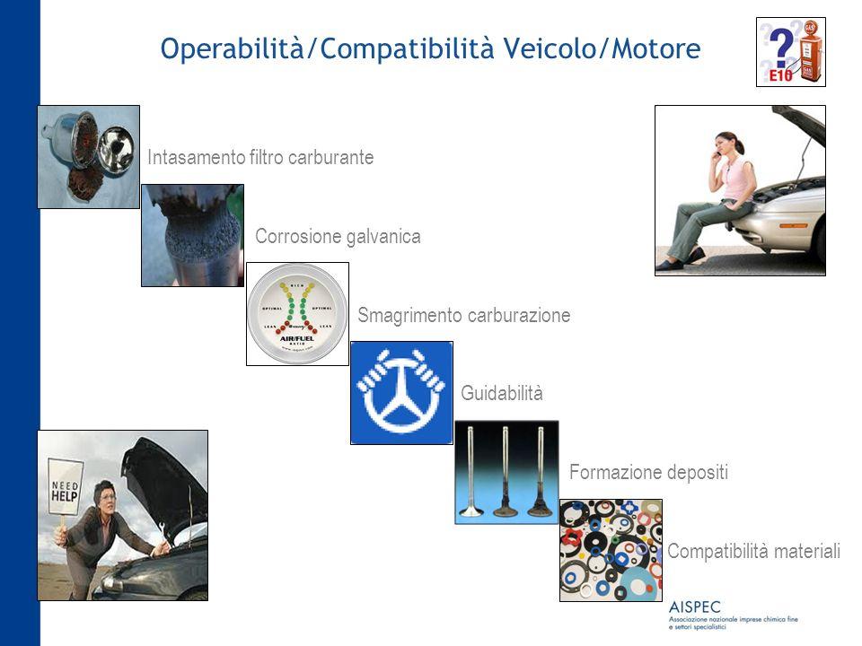 Operabilità/Compatibilità Veicolo/Motore Intasamento filtro carburante Corrosione galvanica Smagrimento carburazione Guidabilità Formazione depositi C