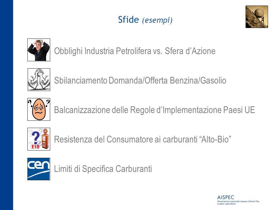 Sfide (esempi) Obblighi Industria Petrolifera vs. Sfera dAzione Sbilanciamento Domanda/Offerta Benzina/Gasolio Balcanizzazione delle Regole dImplement