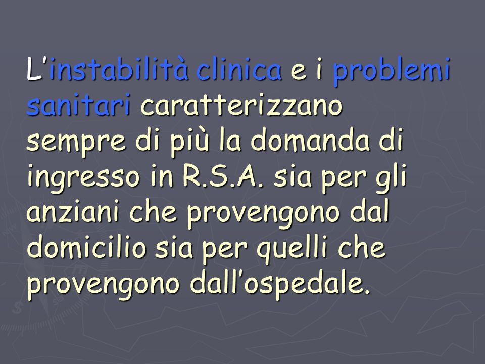Linstabilità clinica e i problemi sanitari caratterizzano sempre di più la domanda di ingresso in R.S.A.