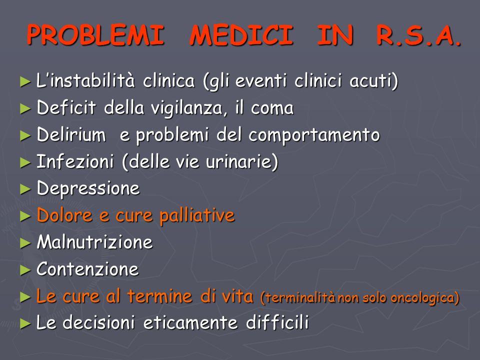 PROBLEMI MEDICI IN R.S.A.