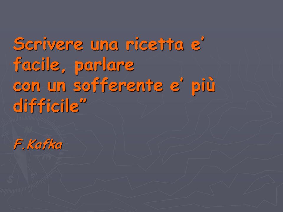 Scrivere una ricetta e facile, parlare con un sofferente e più difficile F.Kafka