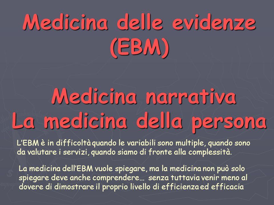Medicina delle evidenze (EBM) Medicina narrativa La medicina della persona LEBM è in difficoltà quando le variabili sono multiple, quando sono da valutare i servizi, quando siamo di fronte alla complessità.