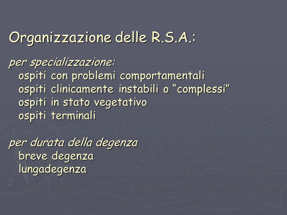 Organizzazione delle R.S.A.: per specializzazione: ospiti con problemi comportamentali ospiti clinicamente instabili o complessi ospiti in stato vegetativo ospiti terminali per durata della degenza breve degenza lungadegenza
