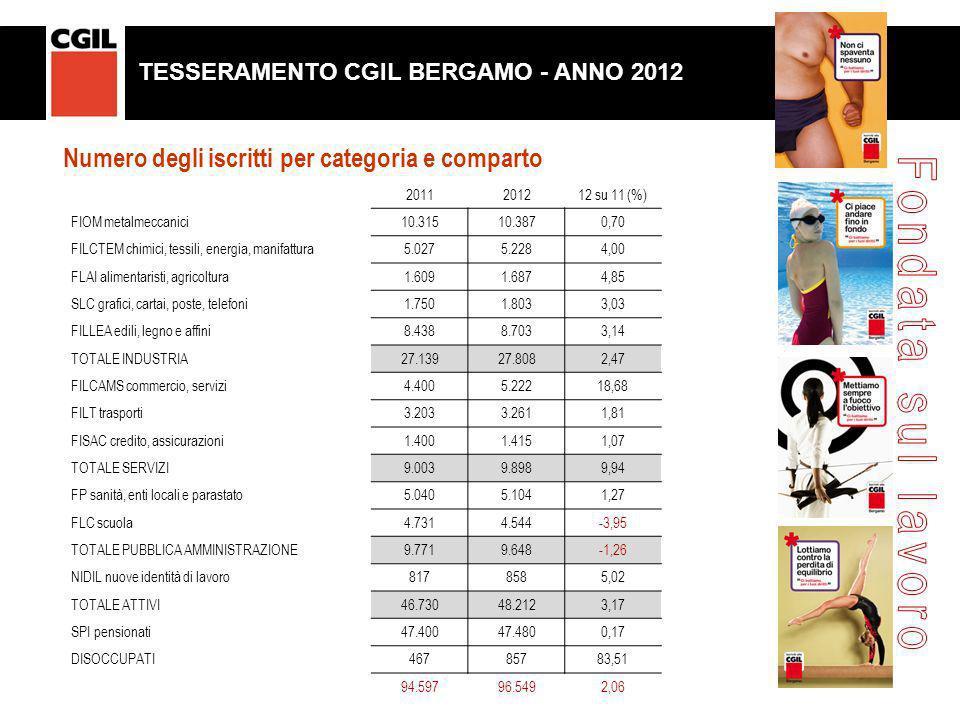 Numero degli iscritti per categoria e comparto 2011201212 su 11 (%) FIOM metalmeccanici10.31510.3870,70 FILCTEM chimici, tessili, energia, manifattura