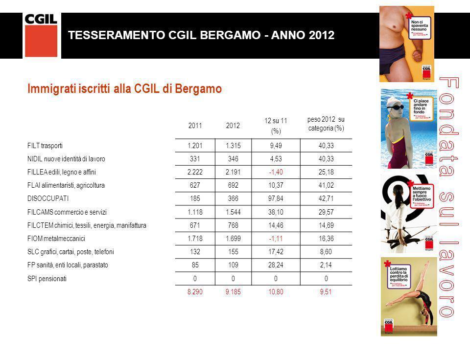 20112012 12 su 11 (%) peso 2012 su categoria (%) FILT trasporti1.2011.3159,4940,33 NIDIL nuove identità di lavoro3313464,5340,33 FILLEA edili, legno e