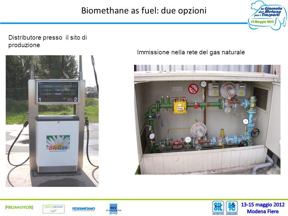 Biomethane as fuel: due opzioni Distributore presso il sito di produzione Immissione nella rete del gas naturale