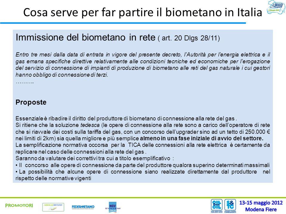 Immissione del biometano in rete ( art. 20 Dlgs 28/11) Entro tre mesi dalla data di entrata in vigore del presente decreto, lAutorità per lenergia ele