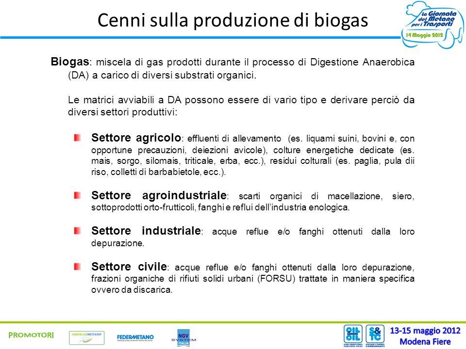 Cenni sulla produzione di biogas Biogas : miscela di gas prodotti durante il processo di Digestione Anaerobica (DA) a carico di diversi substrati orga