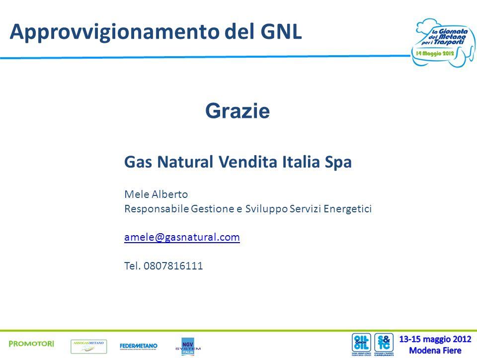 Approvvigionamento del GNL Gas Natural Vendita Italia Spa Mele Alberto Responsabile Gestione e Sviluppo Servizi Energetici amele@gasnatural.com Tel. 0