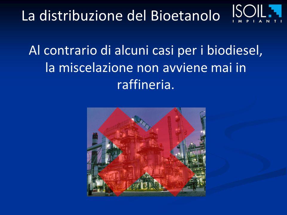 La distribuzione del Bioetanolo Al contrario di alcuni casi per i biodiesel, la miscelazione non avviene mai in raffineria.