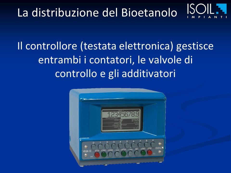 La distribuzione del Bioetanolo Il controllore (testata elettronica) gestisce entrambi i contatori, le valvole di controllo e gli additivatori