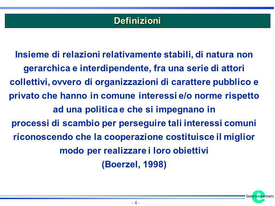 - 4 - Insieme di relazioni relativamente stabili, di natura non gerarchica e interdipendente, fra una serie di attori collettivi, ovvero di organizzaz