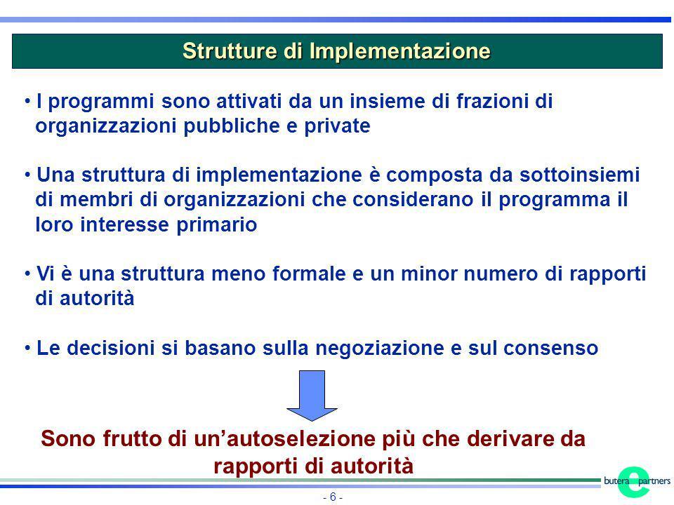 - 6 - Strutture di Implementazione I programmi sono attivati da un insieme di frazioni di organizzazioni pubbliche e private Una struttura di implemen