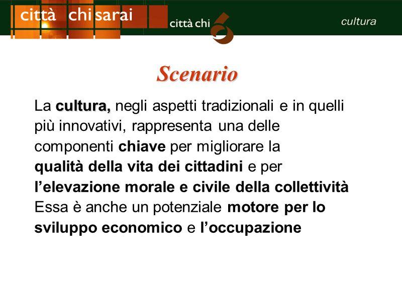 Scenario cultura, La cultura, negli aspetti tradizionali e in quelli più innovativi, rappresenta una delle componenti chiave per migliorare la qualità
