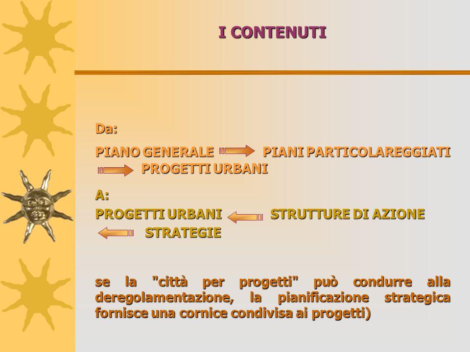 I CONTENUTI Da: PIANO GENERALE PIANI PARTICOLAREGGIATI PROGETTI URBANI PROGETTI URBANI A: PROGETTI URBANI STRUTTURE DI AZIONE STRATEGIE STRATEGIE se la città per progetti può condurre alla deregolamentazione, la pianificazione strategica fornisce una cornice condivisa ai progetti)