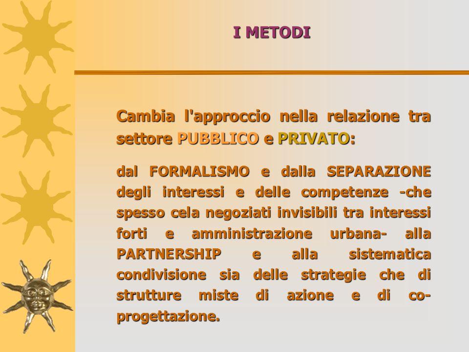I METODI Cambia l'approccio nella relazione tra settore PUBBLICO e PRIVATO: dal FORMALISMO e dalla SEPARAZIONE degli interessi e delle competenze -che