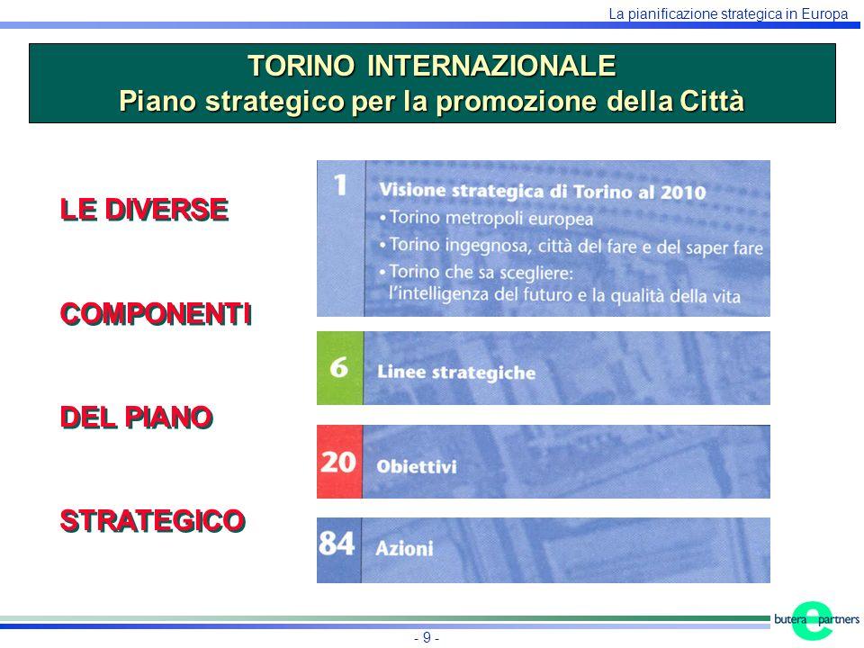 La pianificazione strategica in Europa - 9 - TORINO INTERNAZIONALE Piano strategico per la promozione della Città LE DIVERSE COMPONENTI DEL PIANO STRATEGICO