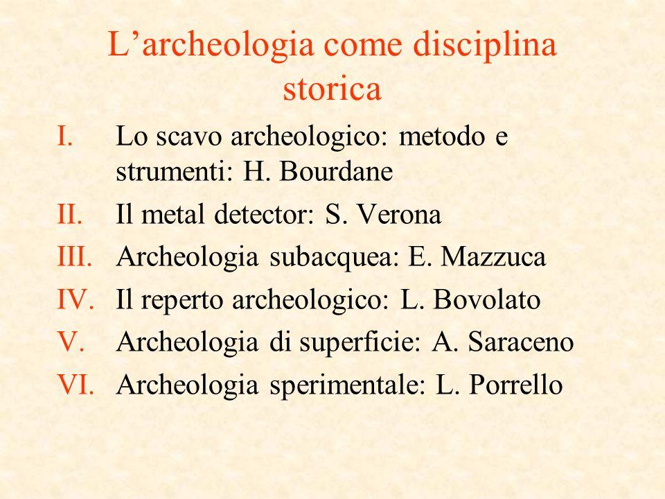 Larcheologia come disciplina storica I.Lo scavo archeologico: metodo e strumenti: H.