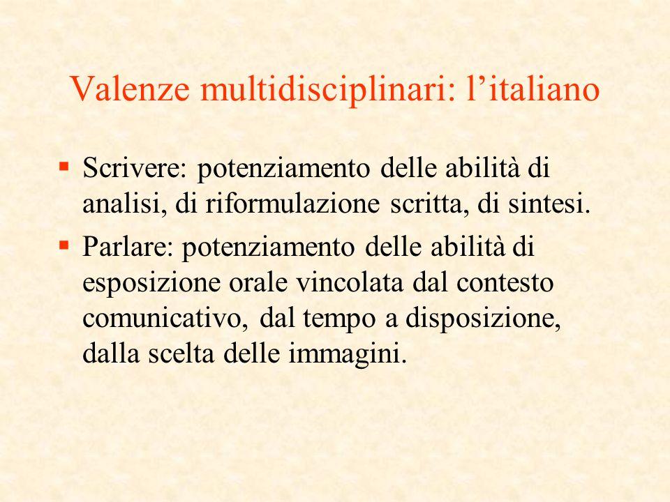 Valenze multidisciplinari: litaliano Scrivere: potenziamento delle abilità di analisi, di riformulazione scritta, di sintesi.