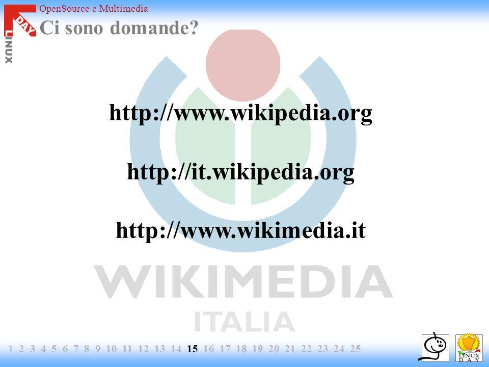 OpenSource e Multimedia 1 2 3 4 5 6 7 8 9 10 11 12 13 14 15 16 17 18 19 20 21 22 23 24 25 Ci sono domande? http://www.wikipedia.org http://it.wikipedi