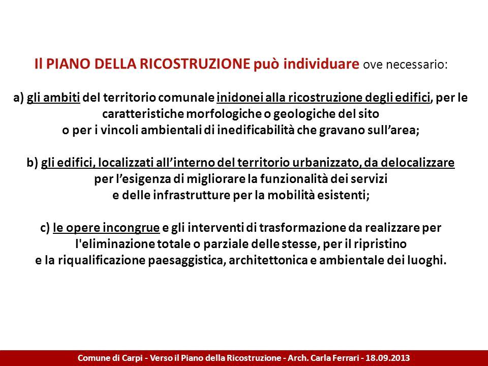 STRATEGIE PER LA RICOSTRUZIONE Comune di Carpi - Verso il Piano della Ricostruzione - Arch.