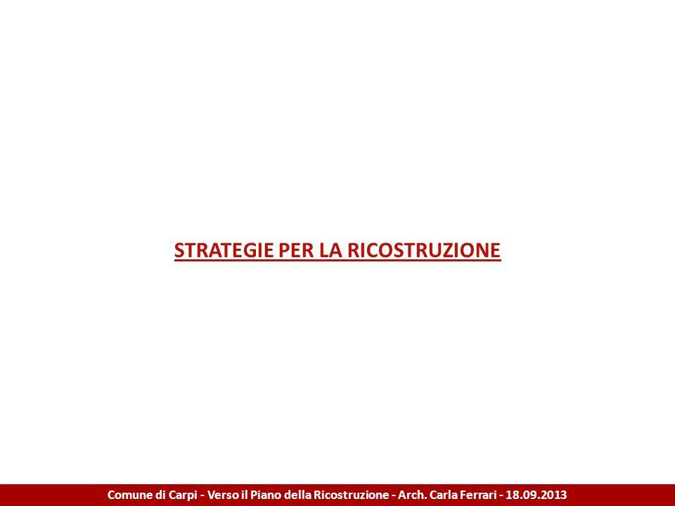 STRATEGIE PER LA RICOSTRUZIONE Comune di Carpi - Verso il Piano della Ricostruzione - Arch. Carla Ferrari - 18.09.2013