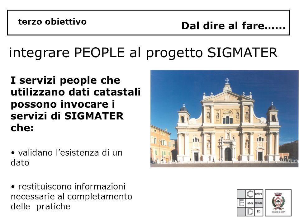 integrare PEOPLE al progetto SIGMATER Dal dire al fare…...