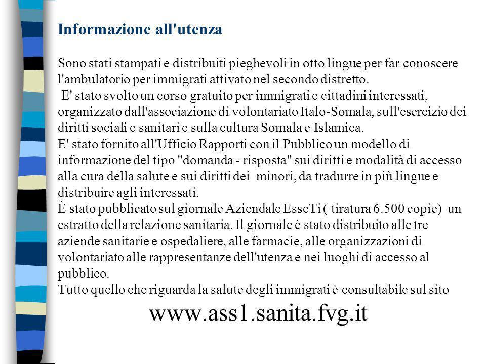 Informazione all utenza Sono stati stampati e distribuiti pieghevoli in otto lingue per far conoscere l ambulatorio per immigrati attivato nel secondo distretto.