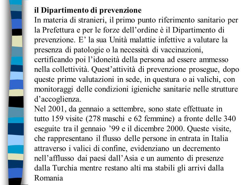 il Dipartimento di prevenzione In materia di stranieri, il primo punto riferimento sanitario per la Prefettura e per le forze dellordine è il Dipartimento di prevenzione.
