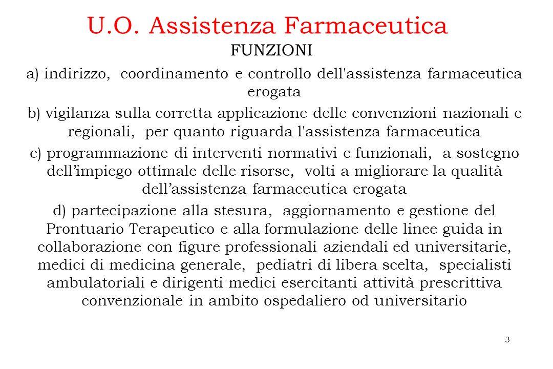 3 U.O. Assistenza Farmaceutica a) indirizzo, coordinamento e controllo dell'assistenza farmaceutica erogata b) vigilanza sulla corretta applicazione d