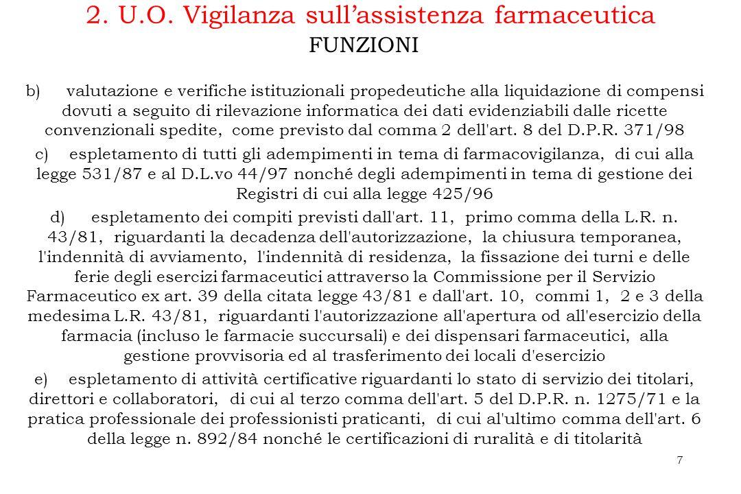 dfgdfgf7 2. U.O. Vigilanza sullassistenza farmaceutica b) valutazione e verifiche istituzionali propedeutiche alla liquidazione di compensi dovuti a s