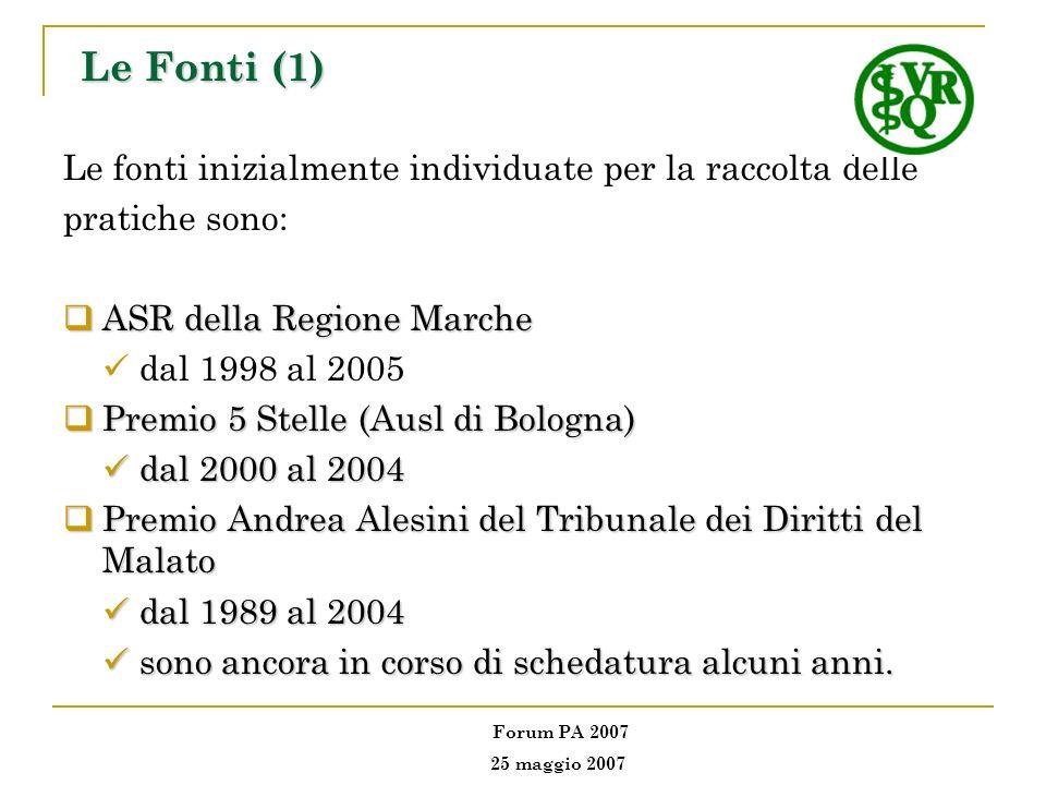 Le Fonti (1) Le fonti inizialmente individuate per la raccolta delle pratiche sono: ASR della Regione Marche ASR della Regione Marche dal 1998 al 2005