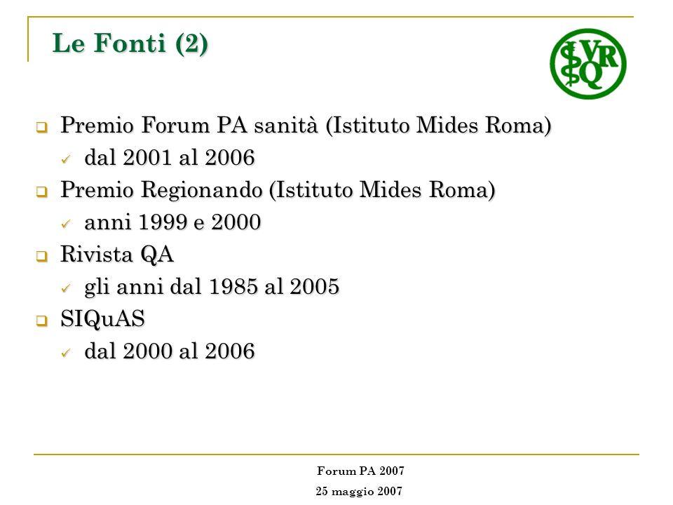 Premio Forum PA sanità (Istituto Mides Roma) Premio Forum PA sanità (Istituto Mides Roma) dal 2001 al 2006 dal 2001 al 2006 Premio Regionando (Istitut