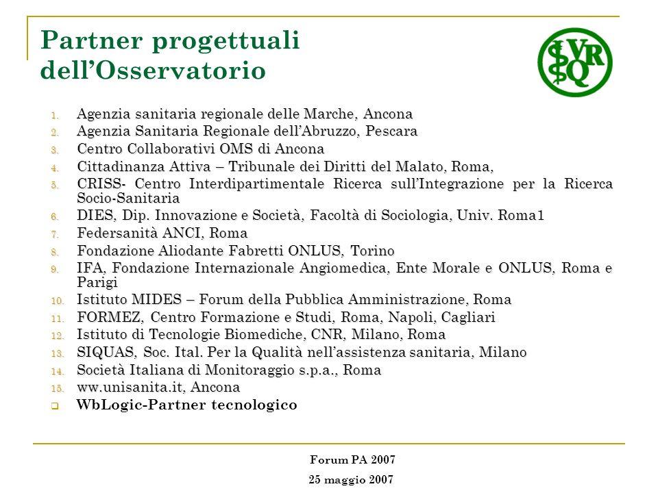 Partner progettuali dellOsservatorio 1. Agenzia sanitaria regionale delle Marche, Ancona 2. Agenzia Sanitaria Regionale dellAbruzzo, Pescara 3. Centro
