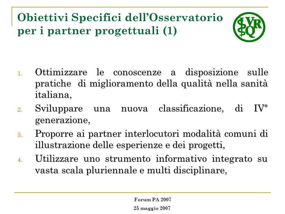 Obiettivi Specifici dellOsservatorio per i partner progettuali (1) 1. Ottimizzare le conoscenze a disposizione sulle pratiche di miglioramento della q