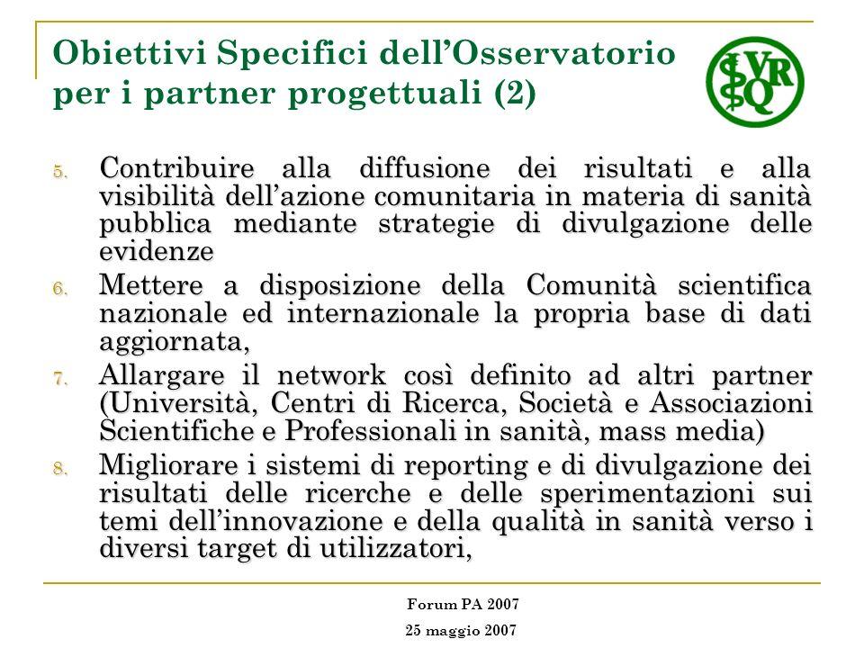 Obiettivi Specifici dellOsservatorio per i partner progettuali (2) 5. Contribuire alla diffusione dei risultati e alla visibilità dellazione comunitar